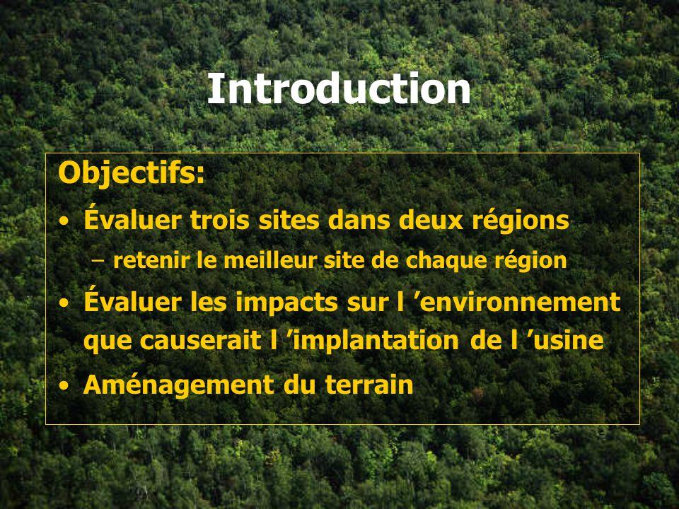 Introduction Objectifs: Évaluer trois sites dans deux régions