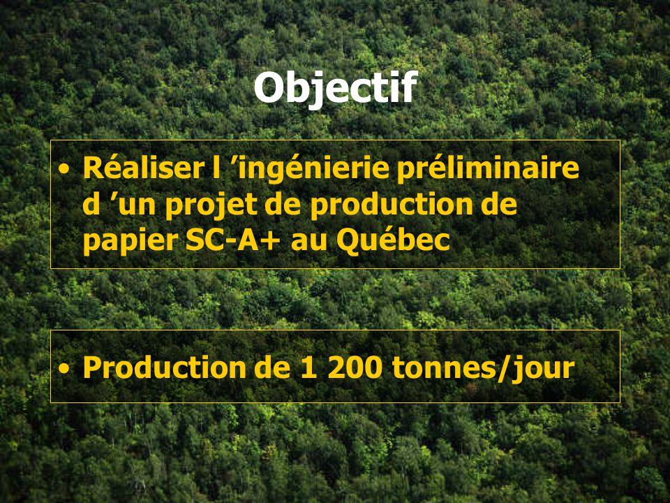 Objectif Réaliser l 'ingénierie préliminaire d 'un projet de production de papier SC-A+ au Québec.