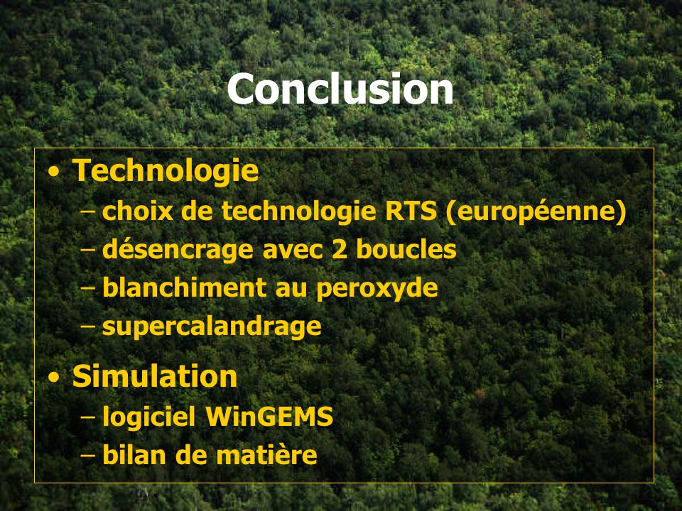 Conclusion Technologie Simulation