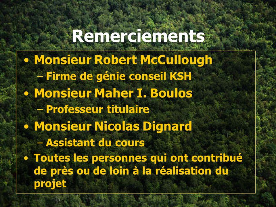 Remerciements Monsieur Robert McCullough Monsieur Maher I. Boulos