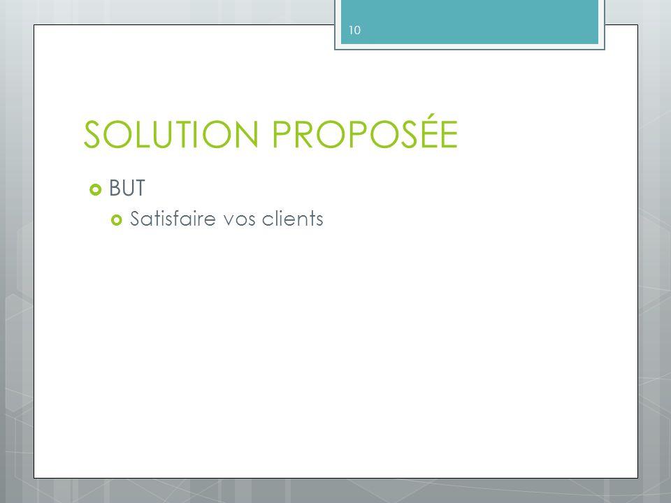 SOLUTION PROPOSÉE BUT Satisfaire vos clients