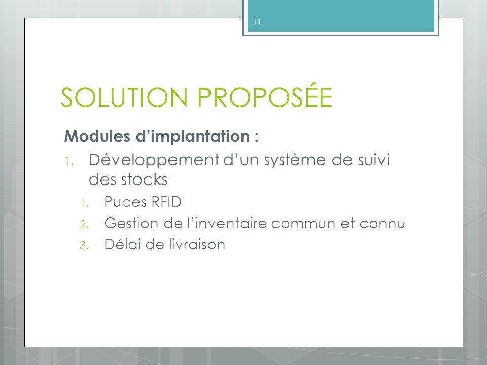 SOLUTION PROPOSÉE Modules d'implantation :