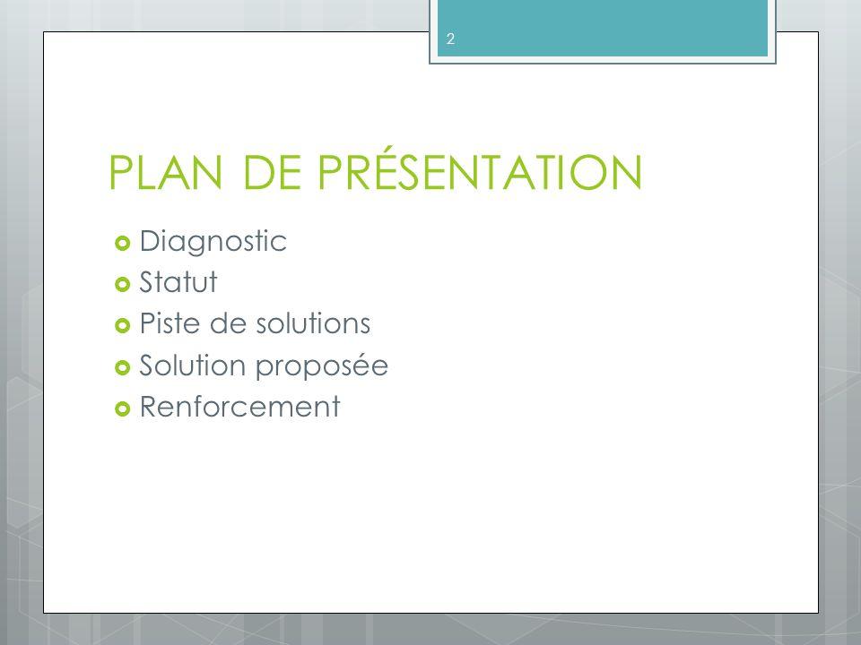 PLAN DE PRÉSENTATION Diagnostic Statut Piste de solutions
