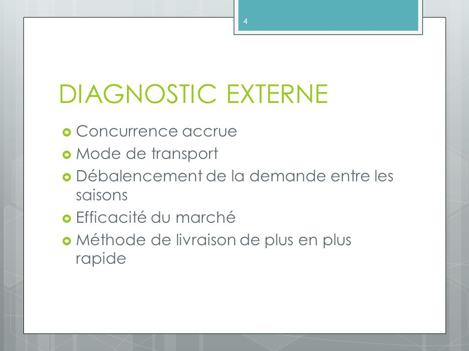 DIAGNOSTIC EXTERNE Concurrence accrue Mode de transport