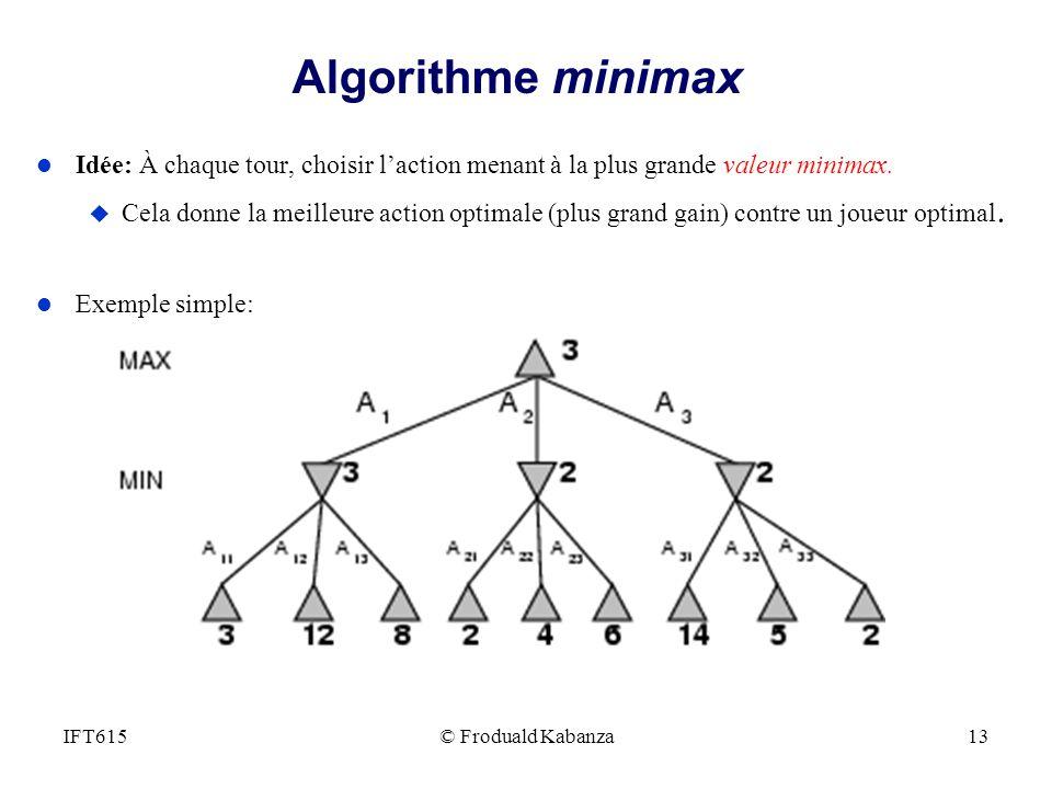 Algorithme minimax Idée: À chaque tour, choisir l'action menant à la plus grande valeur minimax.