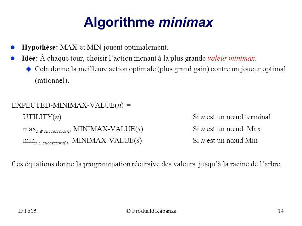 Algorithme minimax Hypothèse: MAX et MIN jouent optimalement.