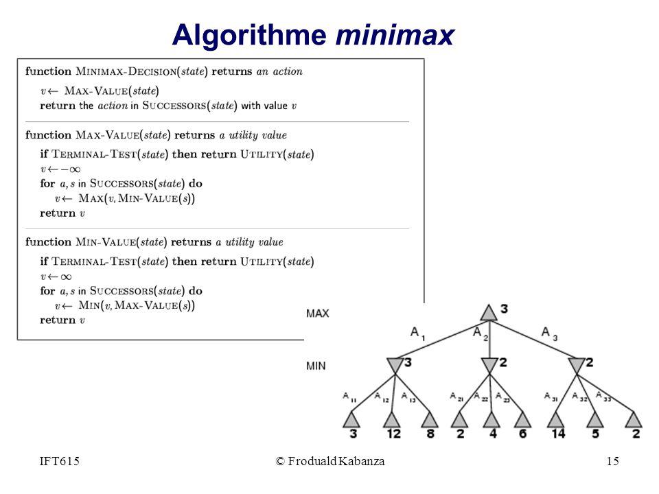 Algorithme minimax Générer l'arbre du jeu jusqu'aux nœuds terminaux.