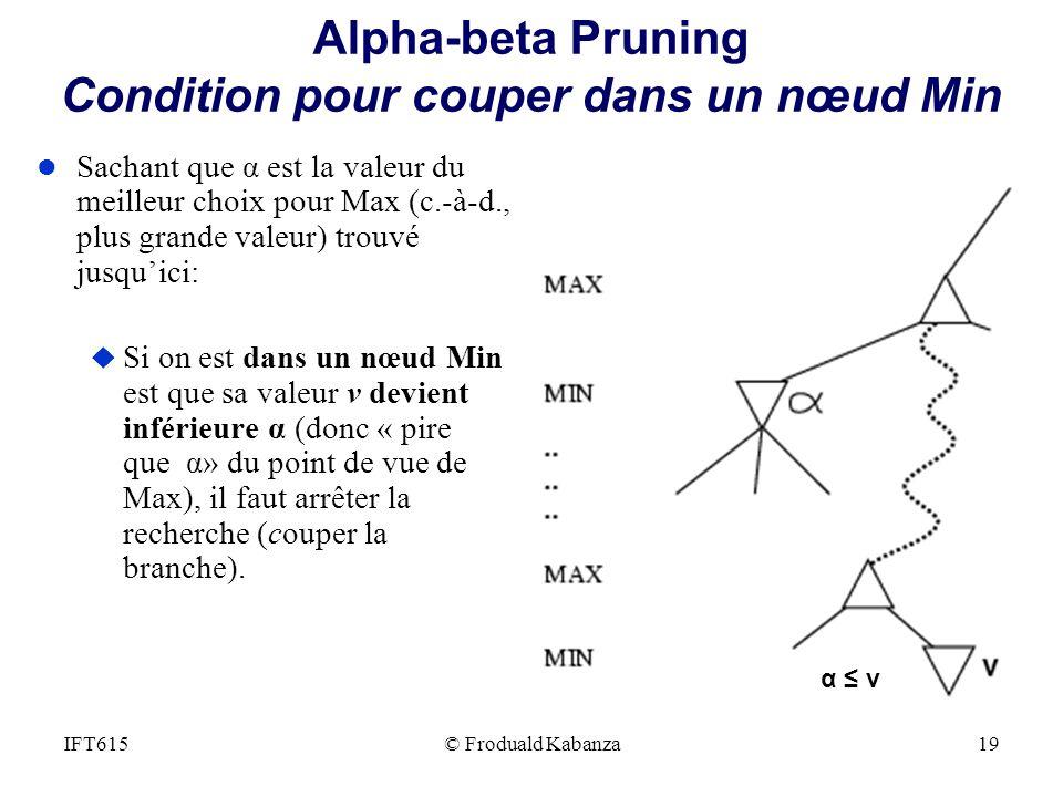 Alpha-beta Pruning Condition pour couper dans un nœud Min