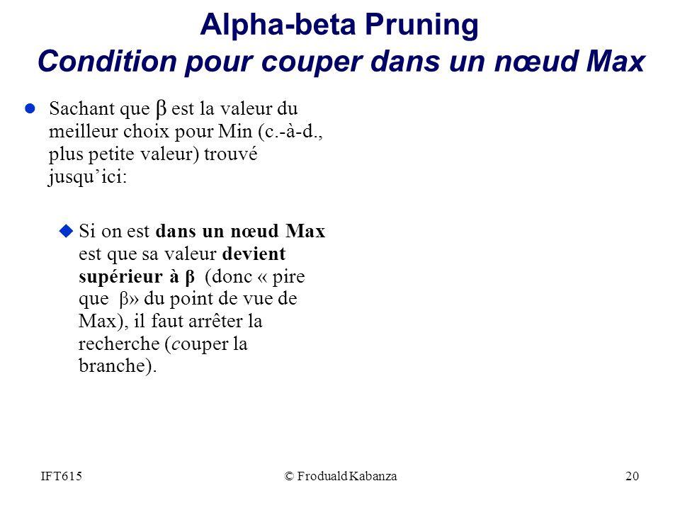 Alpha-beta Pruning Condition pour couper dans un nœud Max