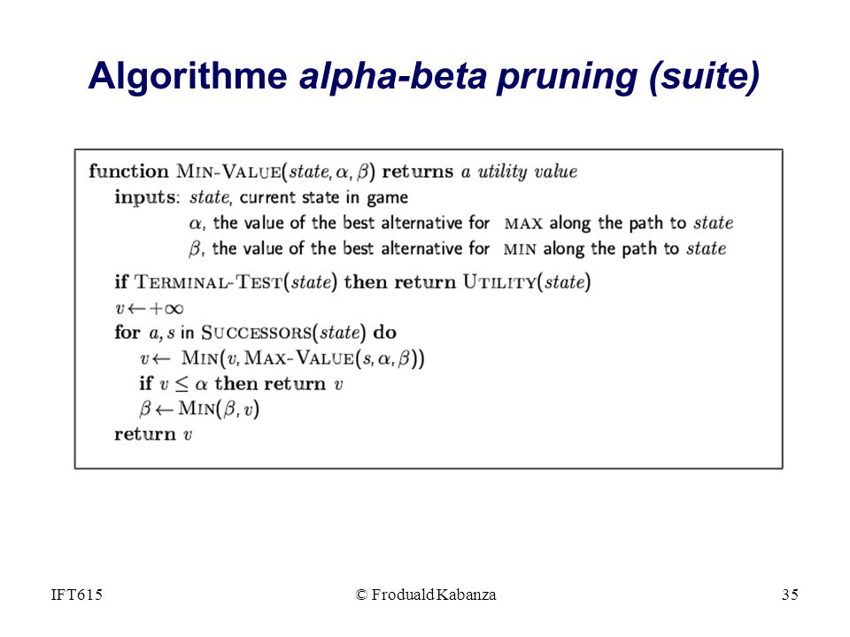 Algorithme alpha-beta pruning (suite)
