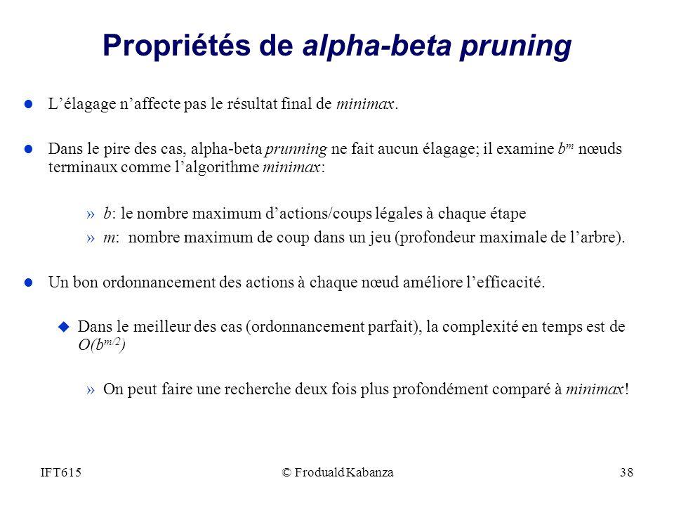 Propriétés de alpha-beta pruning