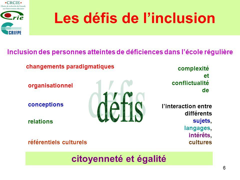 Les défis de l'inclusion