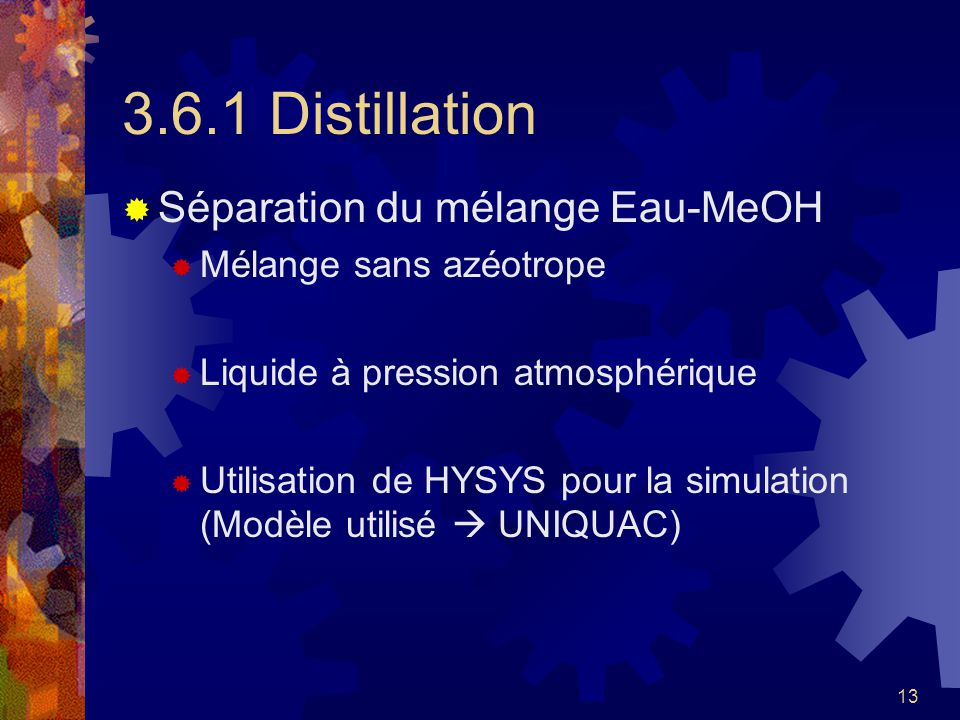 3.6.1 Distillation Séparation du mélange Eau-MeOH
