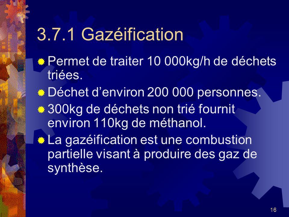 3.7.1 Gazéification Permet de traiter 10 000kg/h de déchets triées.