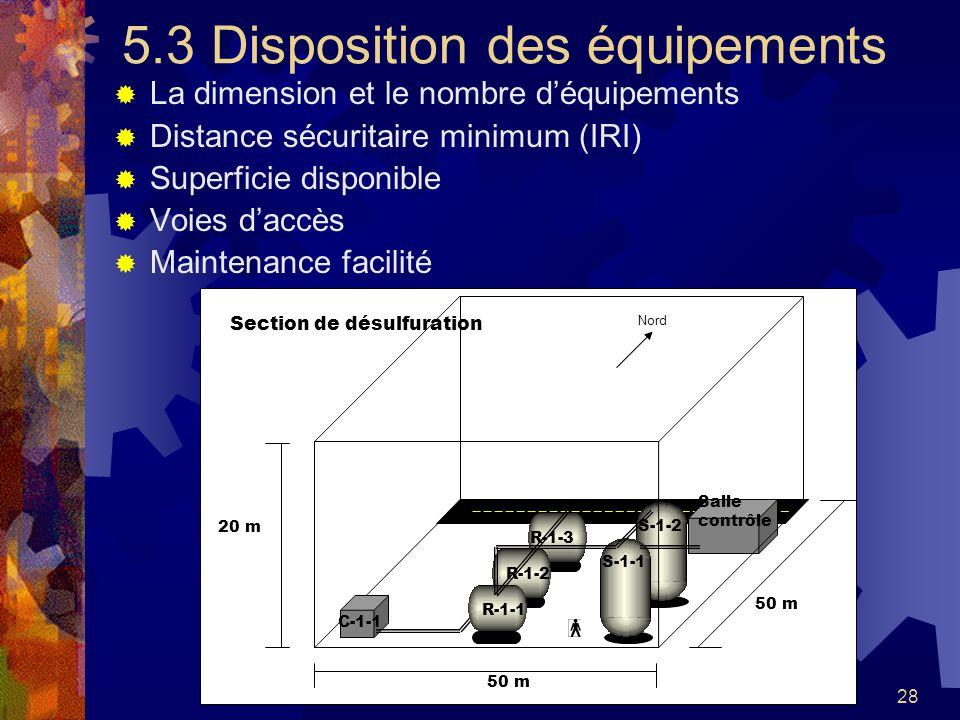 5.3 Disposition des équipements