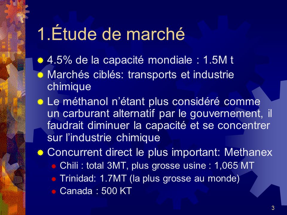 1.Étude de marché 4.5% de la capacité mondiale : 1.5M t