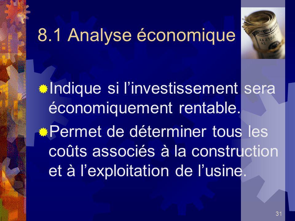 8.1 Analyse économique Indique si l'investissement sera économiquement rentable.