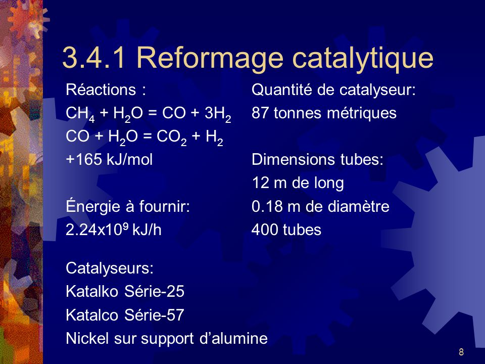 3.4.1 Reformage catalytique