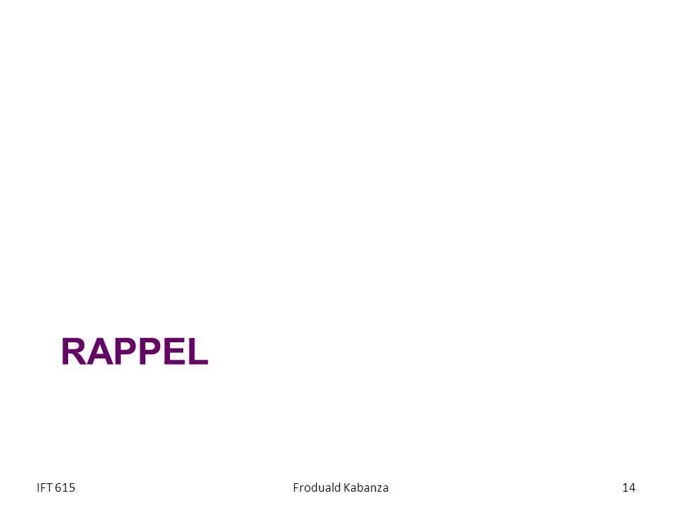 RAPPEL IFT 615 Froduald Kabanza
