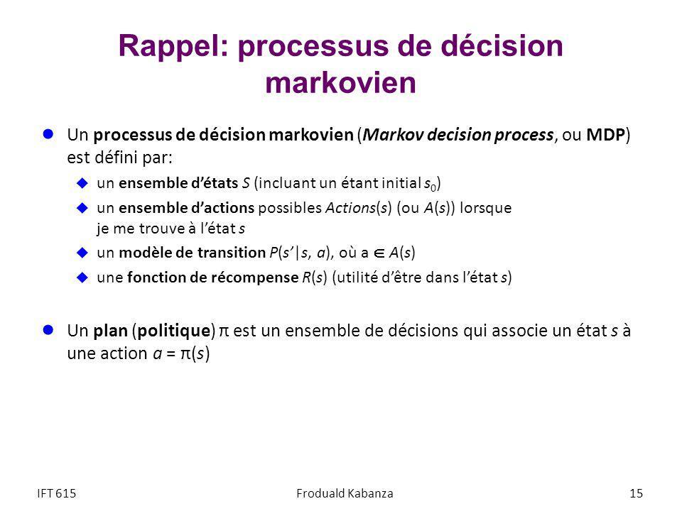 Rappel: processus de décision markovien