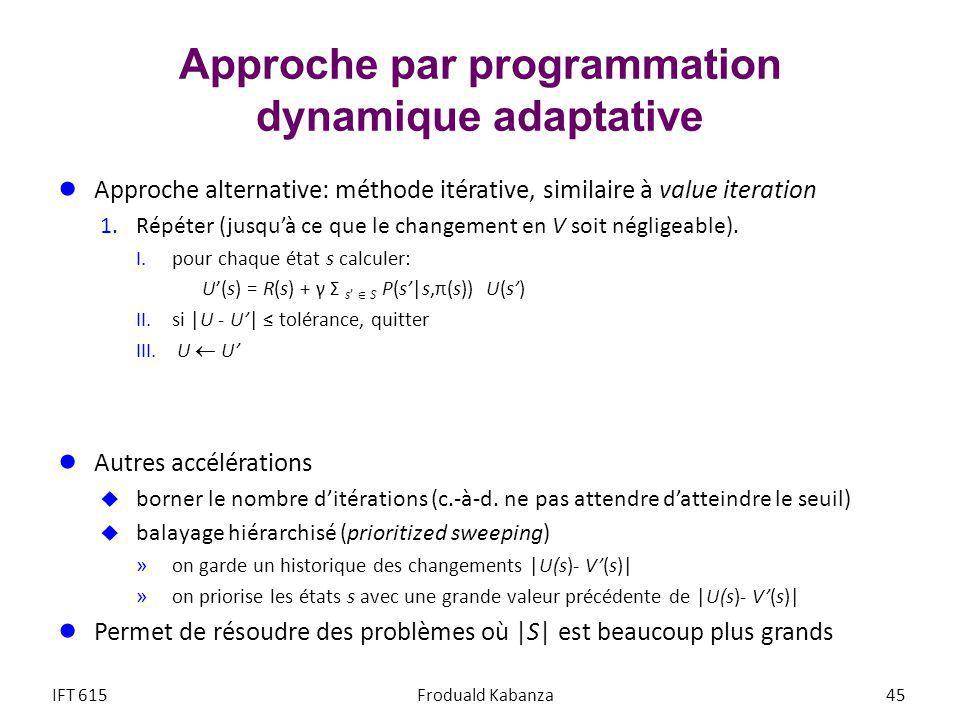 Approche par programmation dynamique adaptative