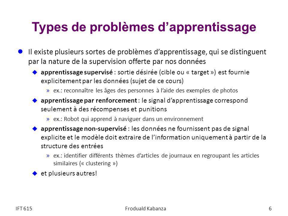 Types de problèmes d'apprentissage