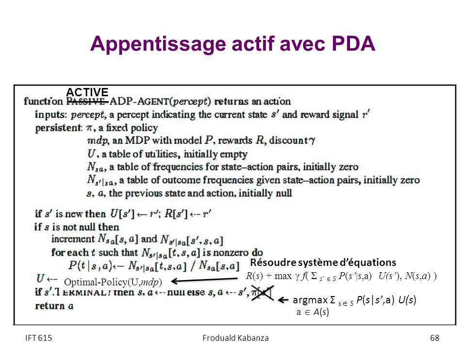 Appentissage actif avec PDA