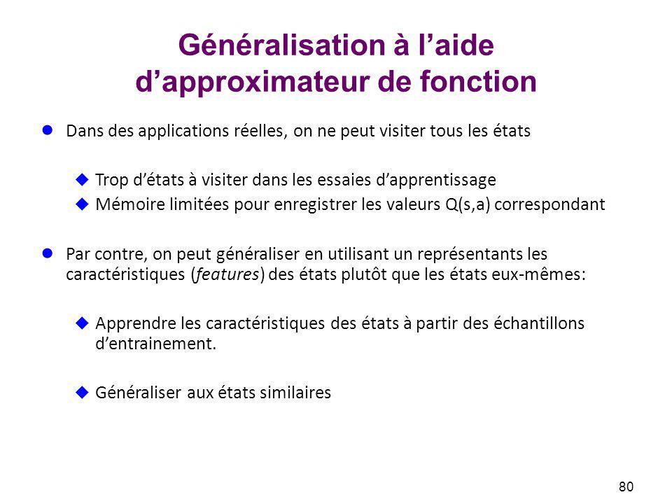 Généralisation à l'aide d'approximateur de fonction