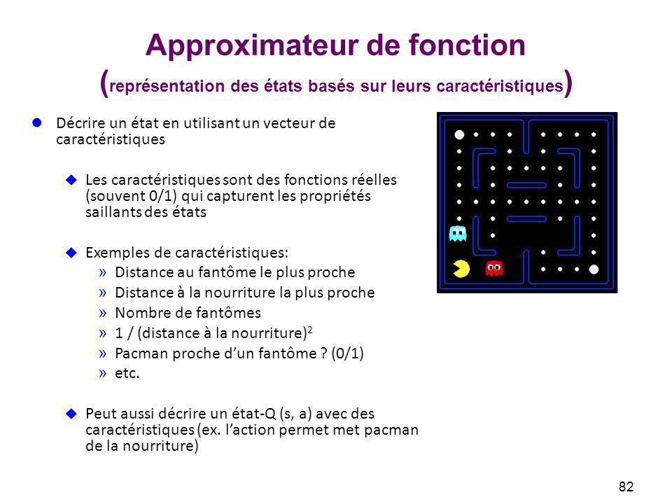 Approximateur de fonction (représentation des états basés sur leurs caractéristiques)
