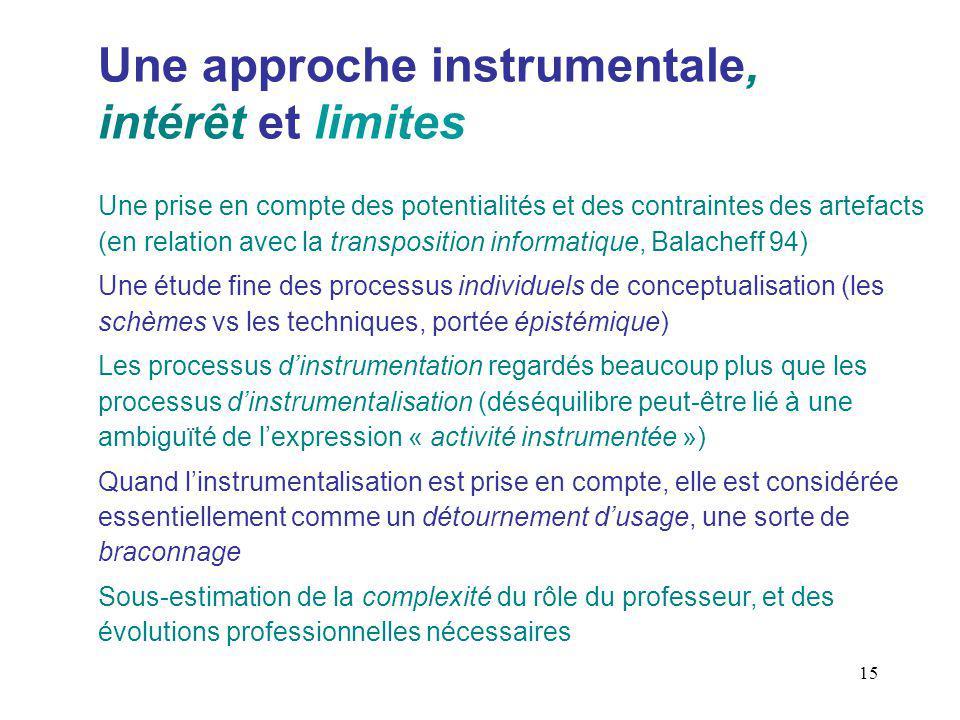 Une approche instrumentale, intérêt et limites