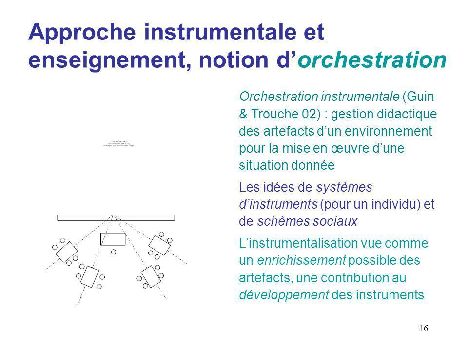 Approche instrumentale et enseignement, notion d'orchestration