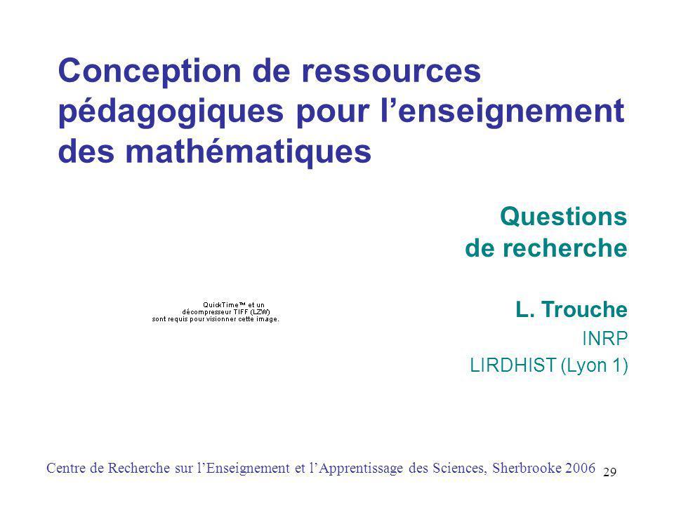 Conception de ressources pédagogiques pour l'enseignement des mathématiques