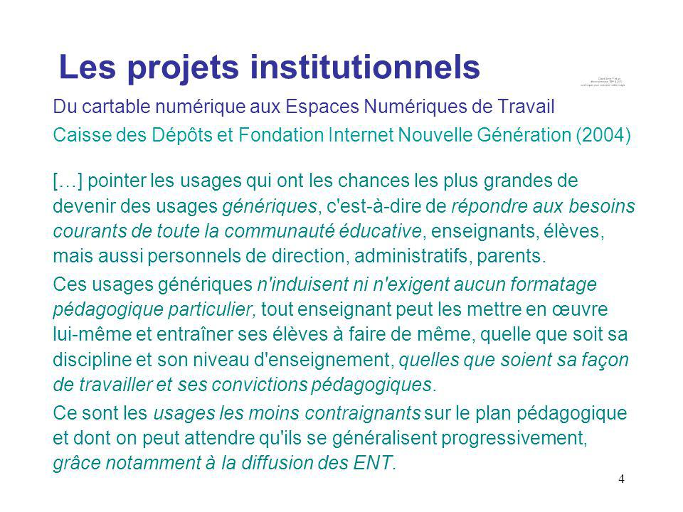 Les projets institutionnels