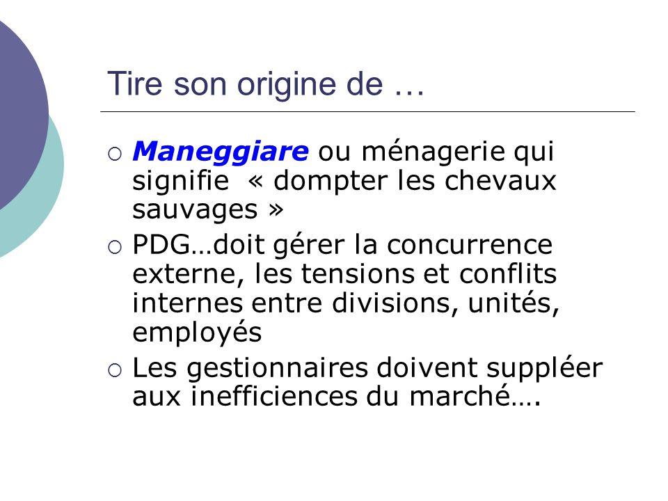 Tire son origine de … Maneggiare ou ménagerie qui signifie « dompter les chevaux sauvages »