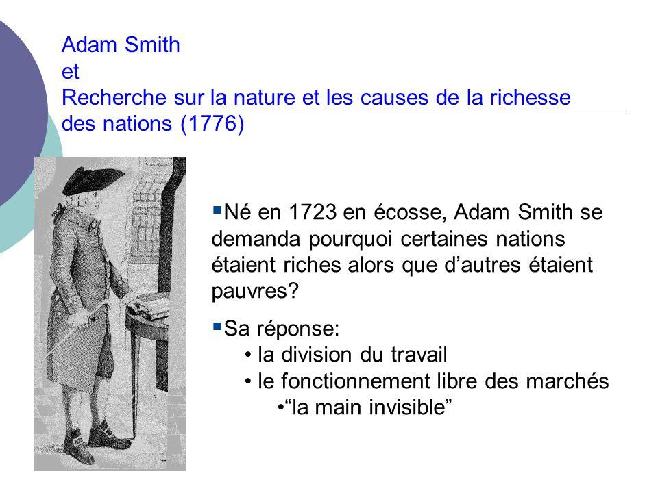 Adam Smith et. Recherche sur la nature et les causes de la richesse des nations (1776)