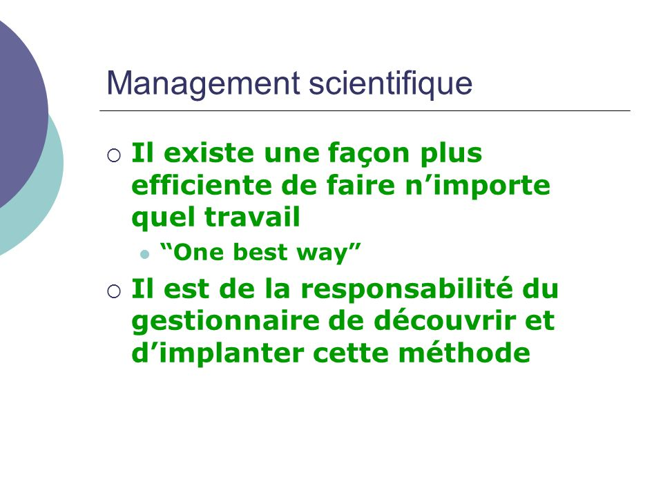 Management scientifique