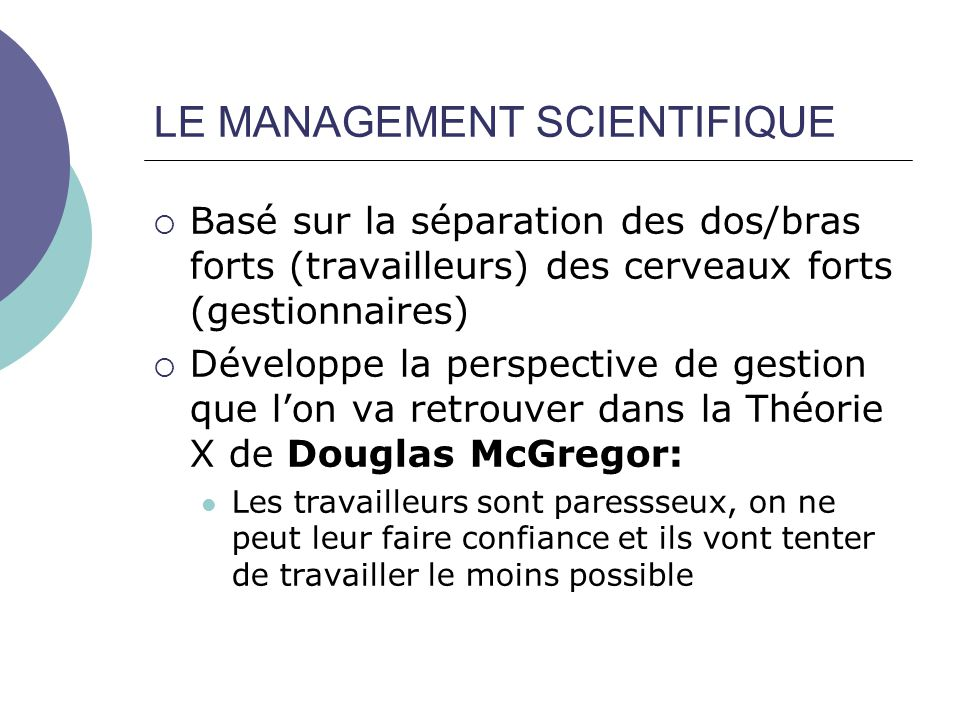 LE MANAGEMENT SCIENTIFIQUE