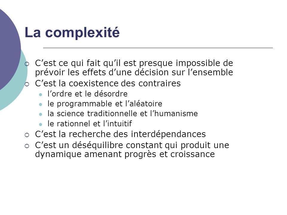 La complexité C'est ce qui fait qu'il est presque impossible de prévoir les effets d'une décision sur l'ensemble.