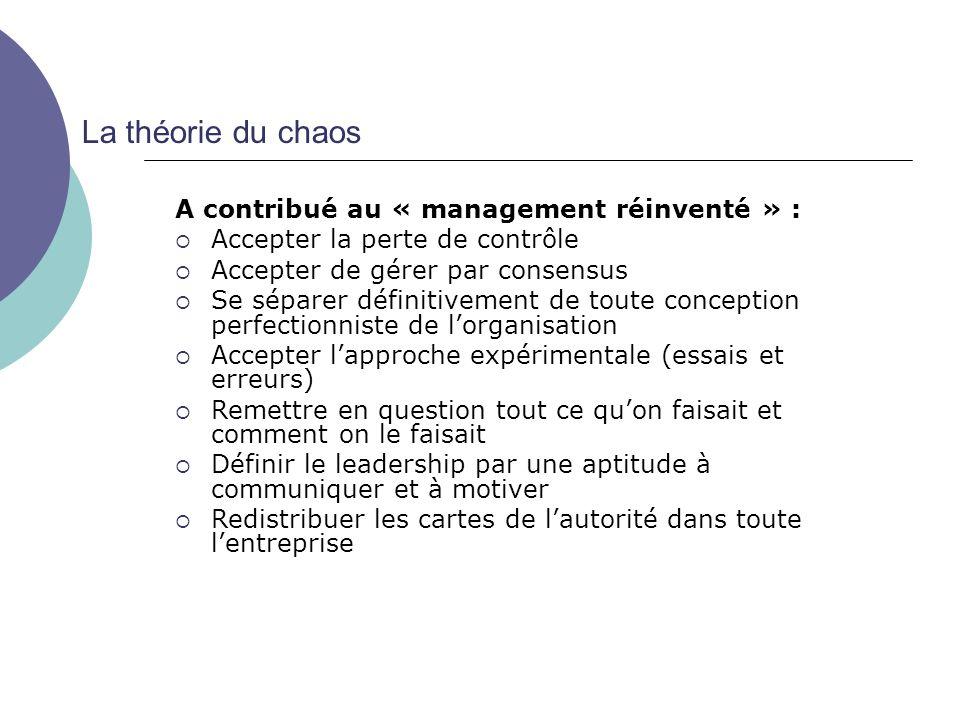 La théorie du chaos A contribué au « management réinventé » :
