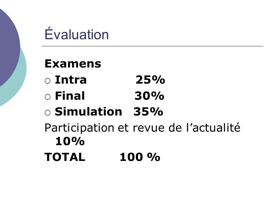 Évaluation Examens Intra 25% Final 30% Simulation 35%