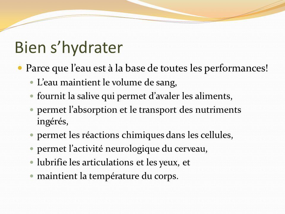 Bien s'hydrater Parce que l'eau est à la base de toutes les performances! L'eau maintient le volume de sang,