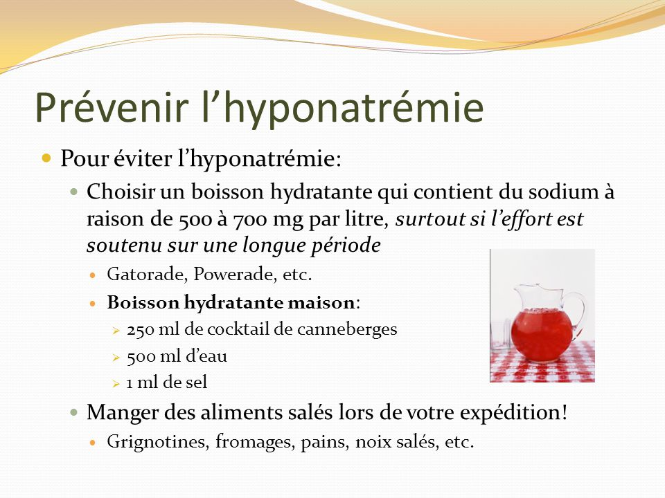 Prévenir l'hyponatrémie