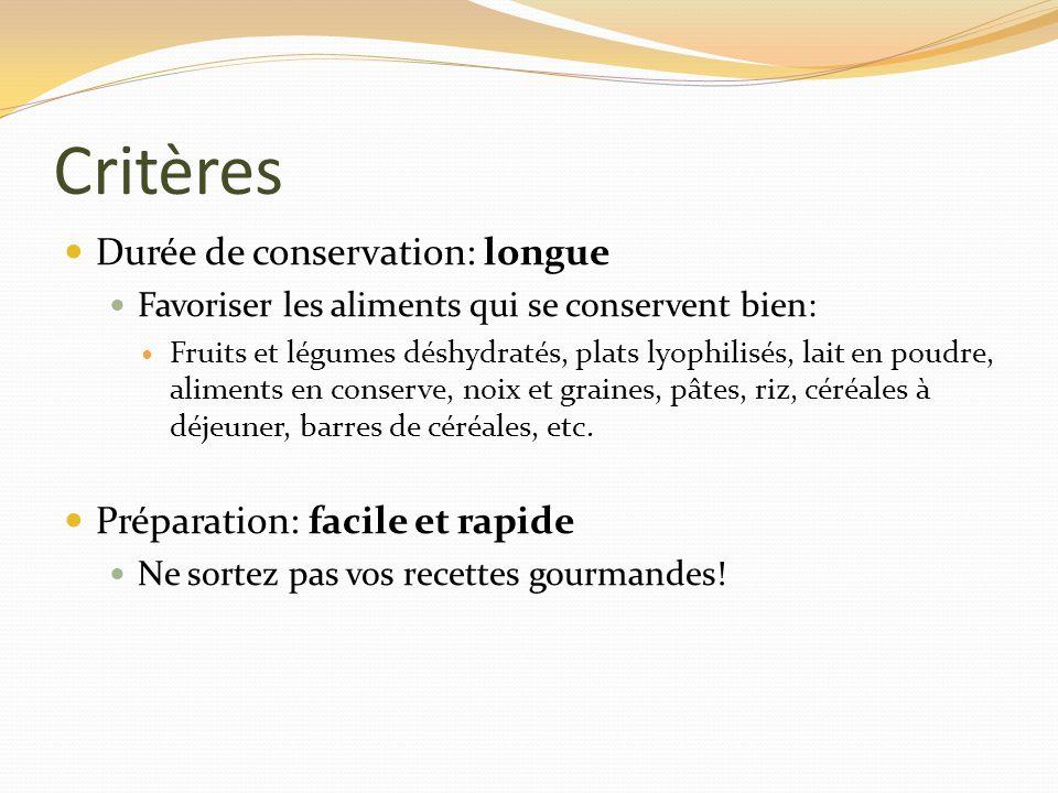 Critères Durée de conservation: longue Préparation: facile et rapide