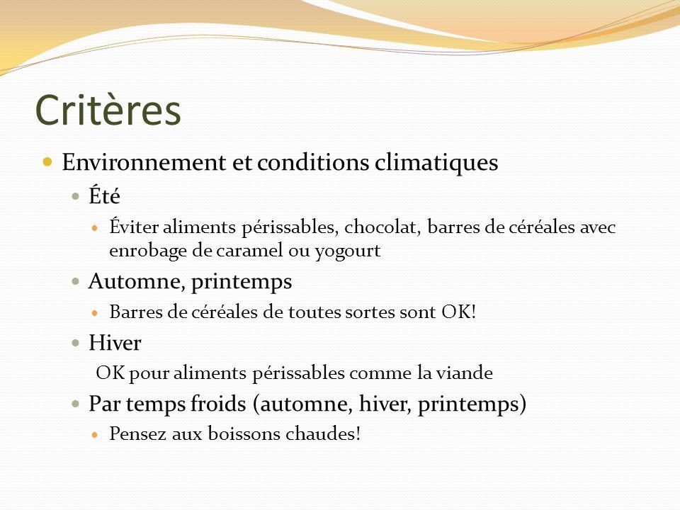 Critères Environnement et conditions climatiques Été