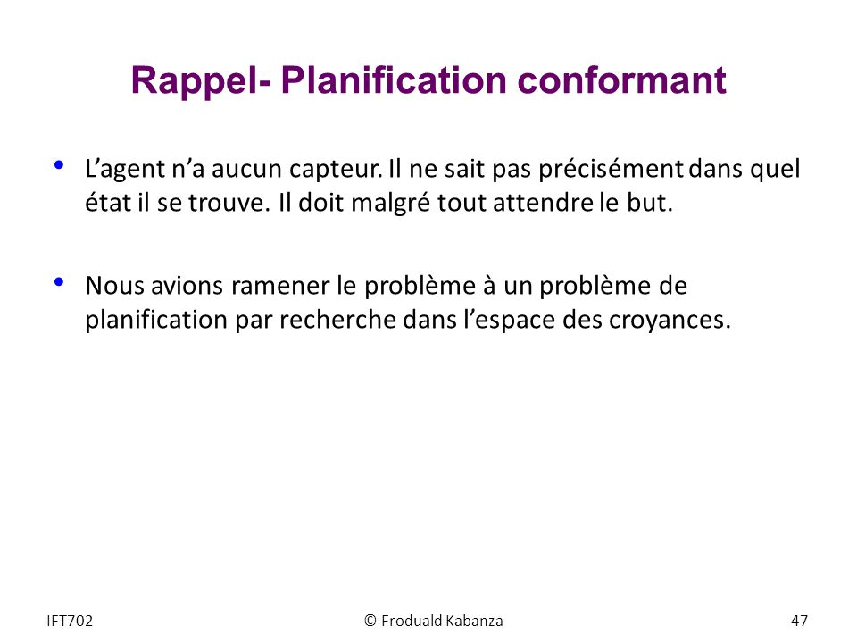 Rappel- Planification conformant