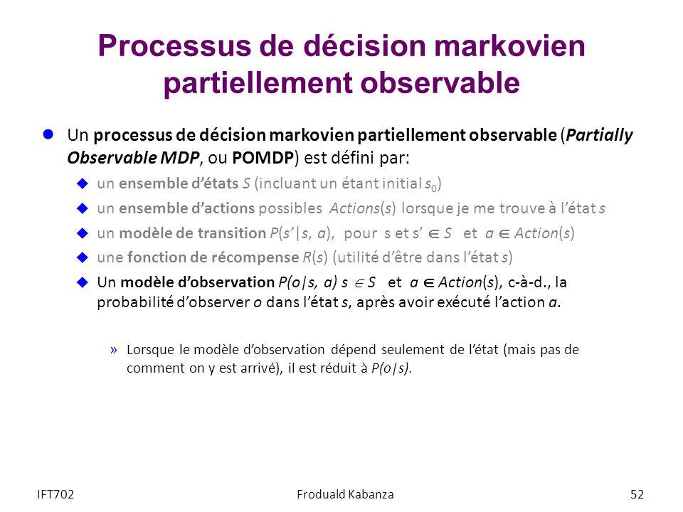 Processus de décision markovien partiellement observable