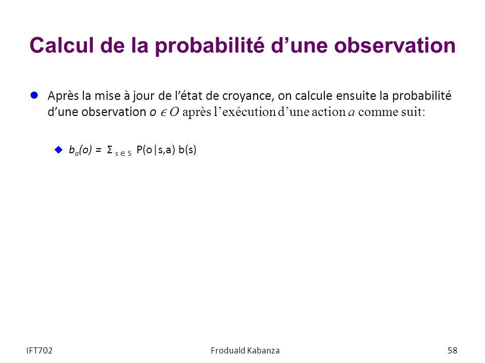 Calcul de la probabilité d'une observation