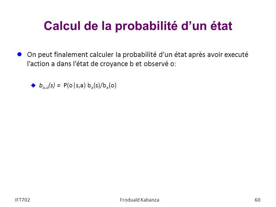 Calcul de la probabilité d'un état