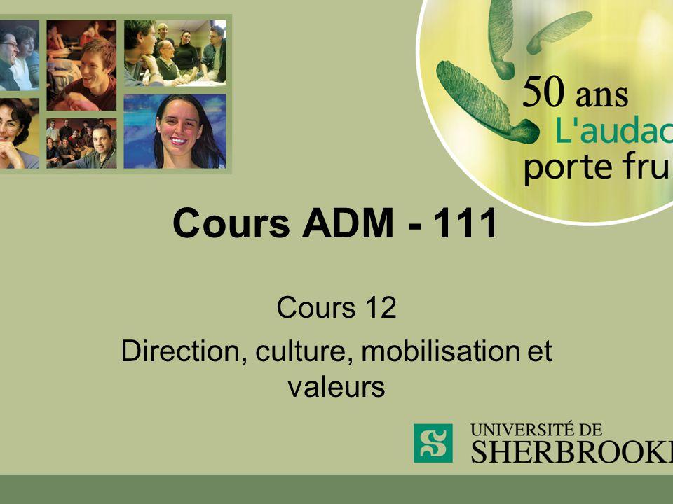 Cours 12 Direction, culture, mobilisation et valeurs