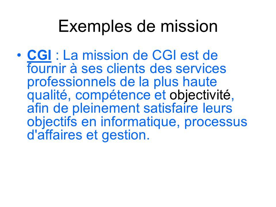 Exemples de mission